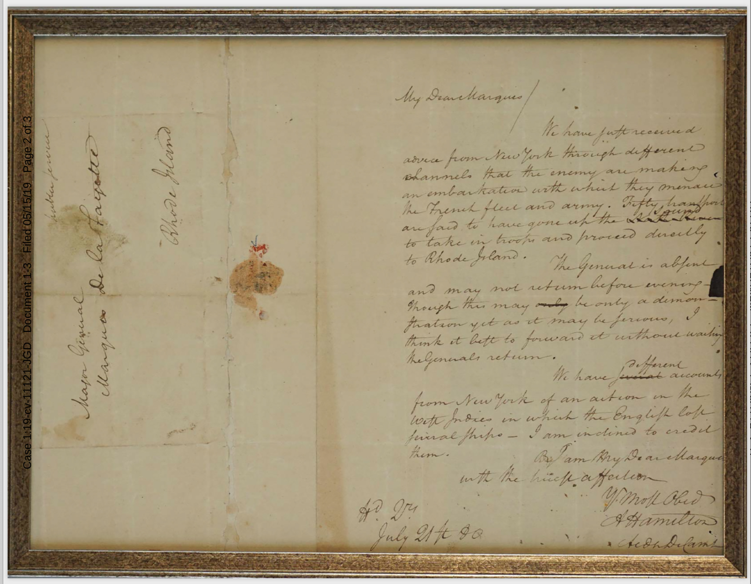 In an undated image provided by law enforcement, a letter written by Alexander Hamilton to the Marquis de Lafayette in 1780, which had been missing for seven decades. The letter, stolen from the Massachusetts Archives, came to light in November 2018 when a Virginia auction house notified the FBI after a family tried to consign it for auction. (U.S. Attorney's Office, Massachusetts via The New York Times) -- FOR EDITORIAL USE ONLY --